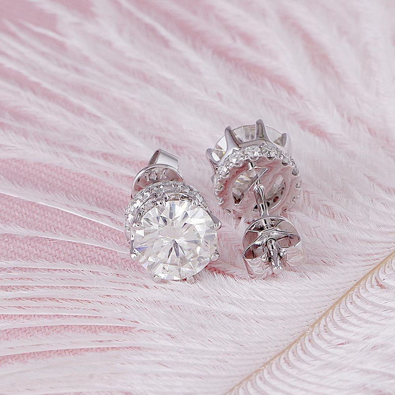 14k White Gold Hidden Halo Stud Moissanite Earrings 2ct Total - Moissanite Engagement Rings & Jewelry | Luxus Moissanite