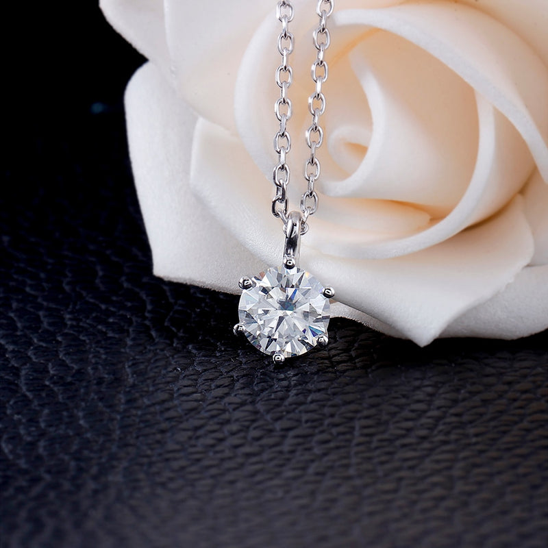 14k White Gold Moissanite Necklace 1.5ct Stone