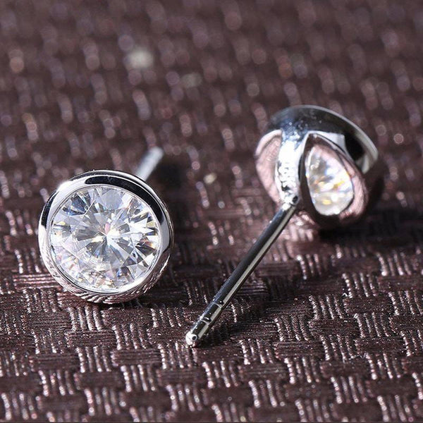 14k White Gold Bezel Set Stud Moissanite Earrings 1 Carat Total - Moissanite Engagement Rings & Jewelry | Luxus Moissanite