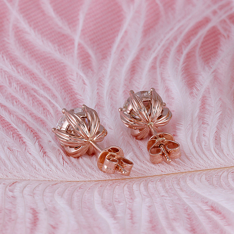 14k Rose Gold Flower Moissanite Stud Earrings 2ctw