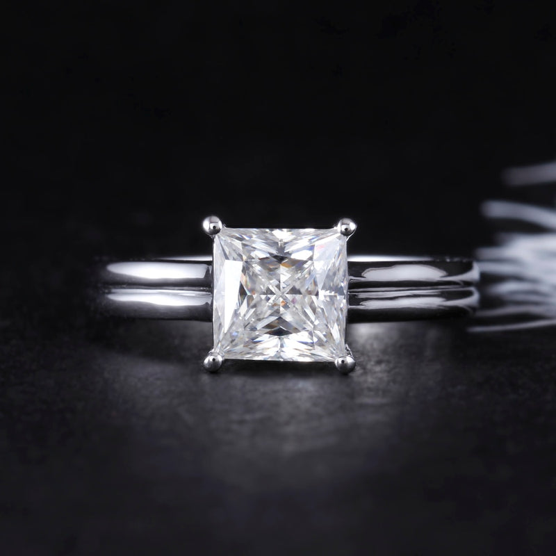 14k White Gold Princess Cut Moissanite Ring 1.5ct