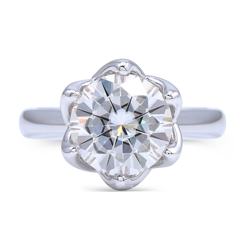 14k White Gold Solitaire Moissanite Ring 2ct