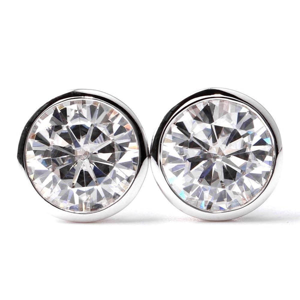 14k White Gold Bezel Set Moissanite Stud Earrings 2ct Total - Moissanite Engagement Rings & Jewelry | Luxus Moissanite
