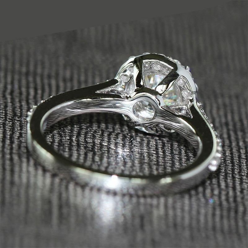 14k White Gold Halo Moissanite Ring 1ct Center Stone