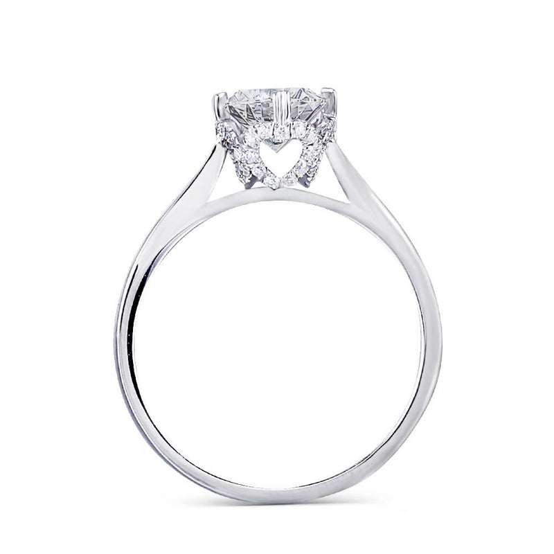 14k White Gold Hidden Halo With Hearts Moissanite Ring 1ct