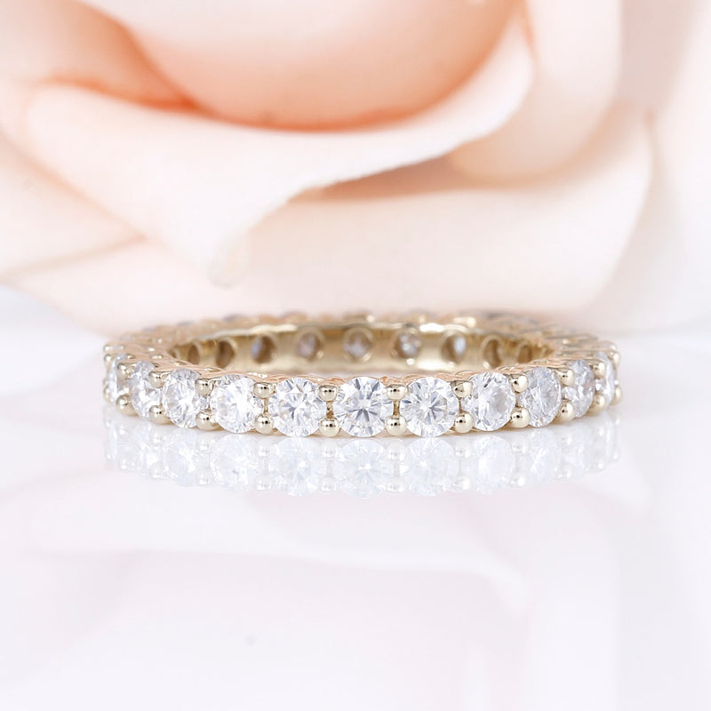 10k Yellow Gold Moissanite Eternity Ring / Wedding Band 1.5 Carat Total