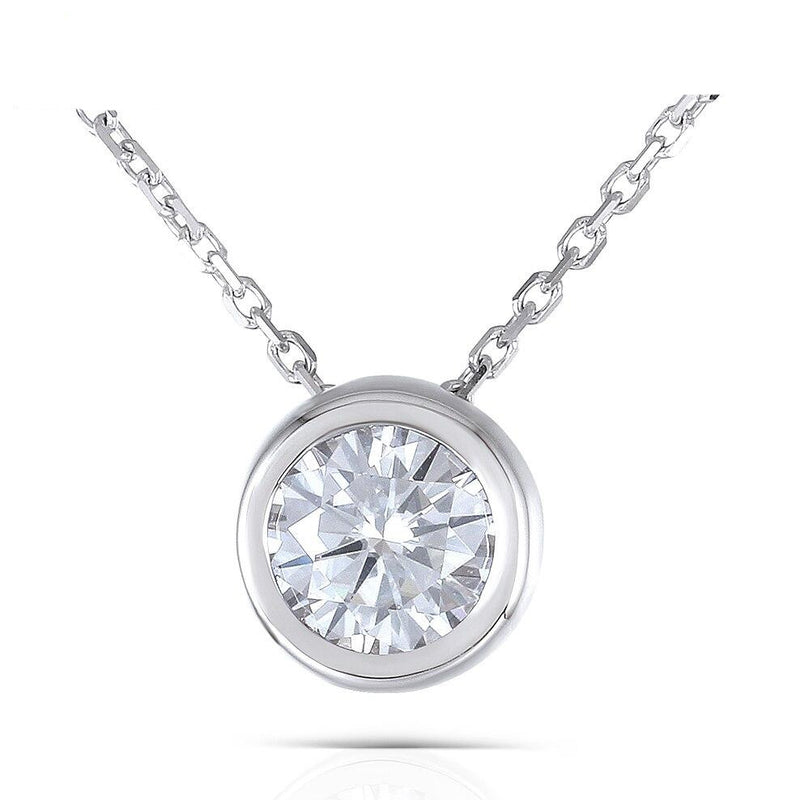 18k White Gold Moissanite Necklace 1ct