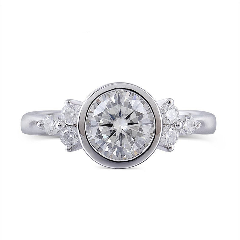 14k White Gold Bezel Set Moissanite Ring 1.18ct Total