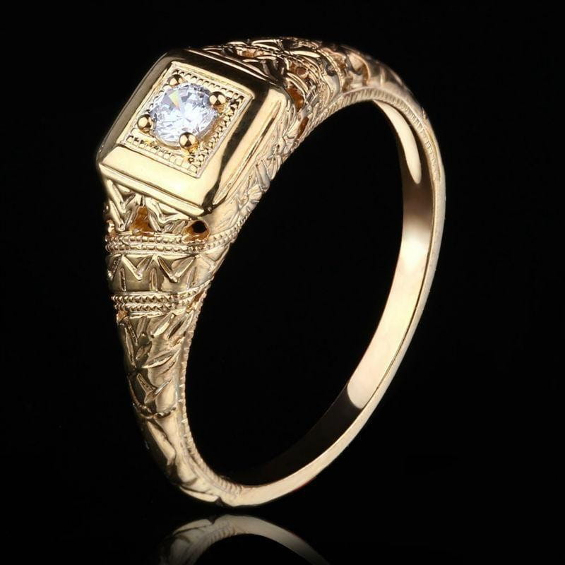 14k Yellow Gold Vintage / Unique Moissanite Ring 0.1ct