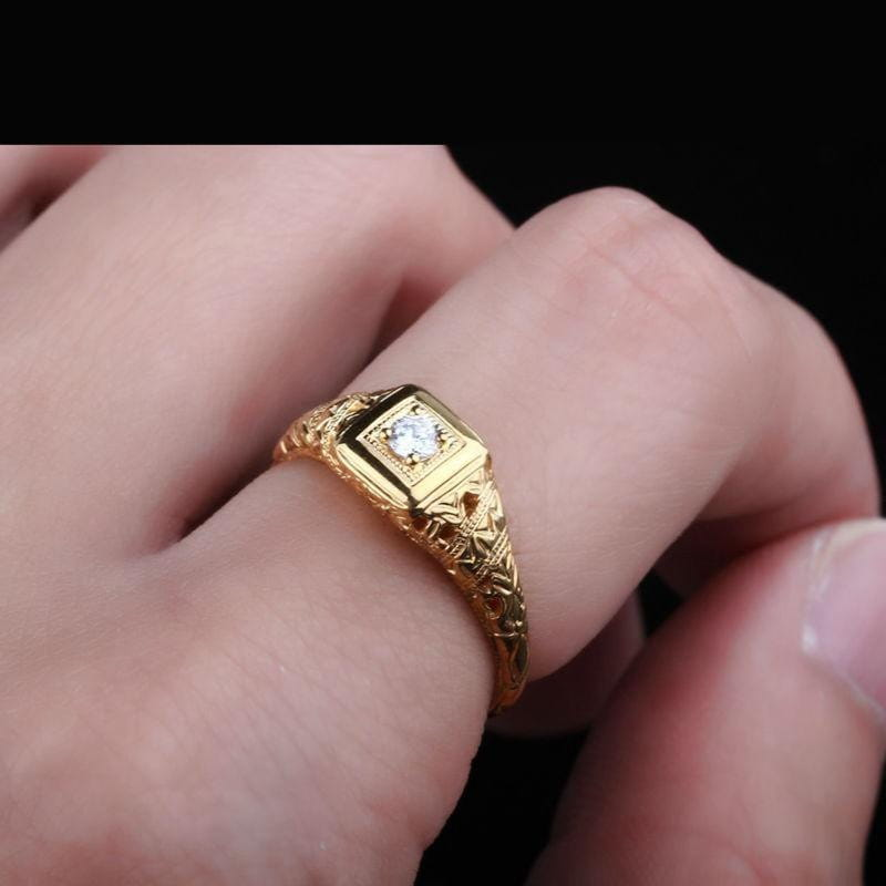 14k Yellow Gold Vintage / Unique Moissanite Ring 0.1ct - Moissanite Engagement Rings & Jewelry | Luxus Moissanite