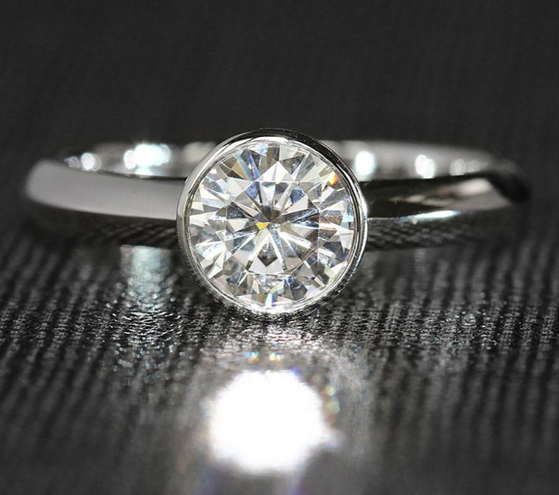 14k White Gold Solitaire Bezel Set Moissanite Ring 1ct