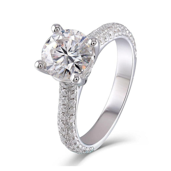10k White Gold Moissanite Ring 1ct, 2ct, 3ct Center Stone Options - Moissanite Engagement Rings & Jewelry | Luxus Moissanite