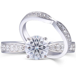 14k White Gold Moissanite Wedding Set 1ct Main Stone