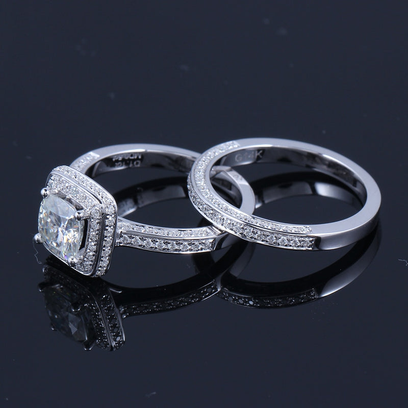 14k White Gold Moissanite Wedding Set (Rings Can Be Bought Separately)