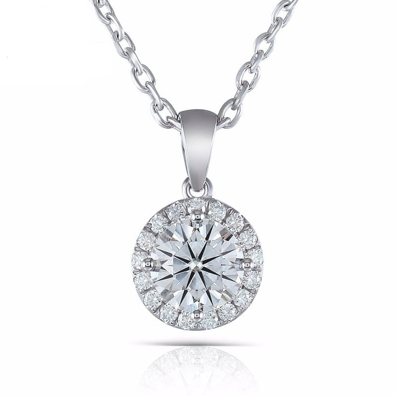 10k White Gold Moissanite Necklace / Pendant 1.17ct Total
