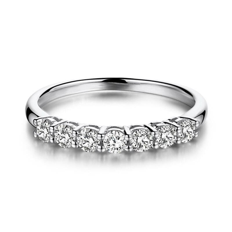 14k White Gold 7 Stone Moissanite Anniversary Band 0.7ct Total