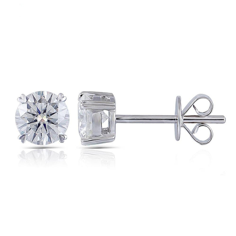 14k White Gold Moissanite Stud Earrings 1ctw