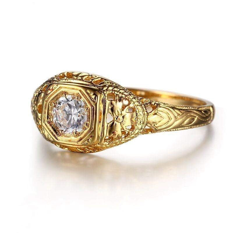 10k Yellow Gold Vintage Moissanite Ring 0.3ct - Moissanite Engagement Rings & Jewelry | Luxus Moissanite