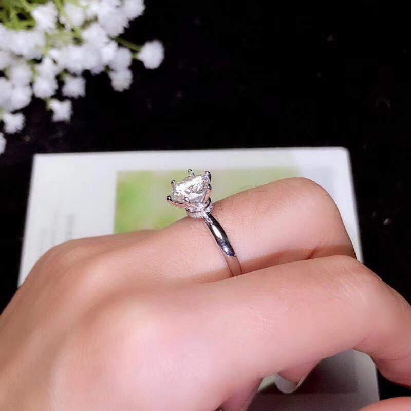Platinum Plated Silver Hidden Halo Moissanite Ring 1ct & 2ct Options - Moissanite Engagement Rings & Jewelry | Luxus Moissanite