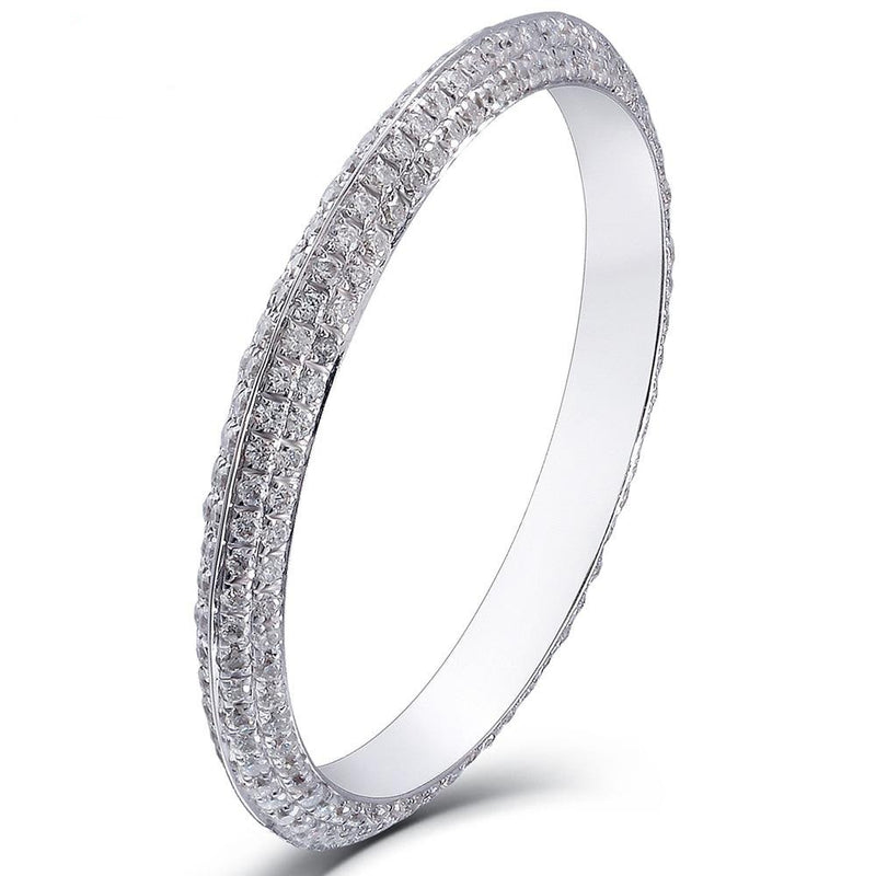 14k White Gold Stackable Moissanite Eternity Ring 0.8ct Total