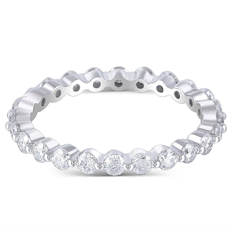 14k White Gold Moissanite Eternity Ring 1ct Total
