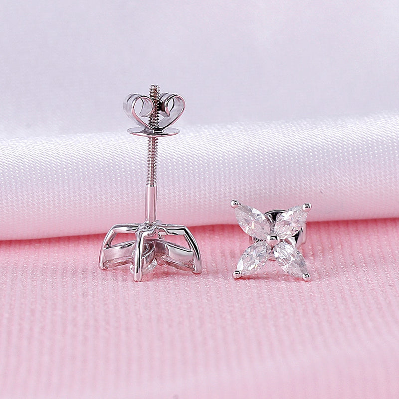 14k White / Yellow / Rose Gold Moissanite Marquise Cut Earrings 0.8ctw