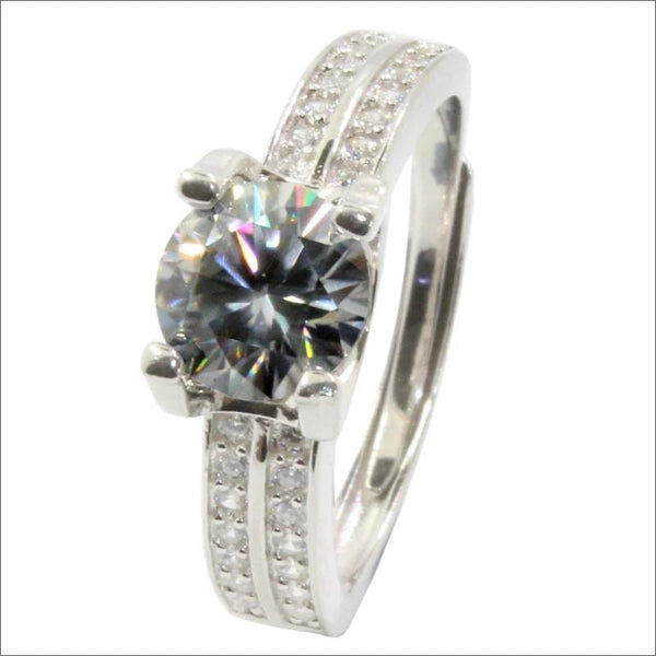 Dual Band Solitaire Moissanite Engagement Ring 1 Carat - Luxus Moissanite Rings & Jewelry