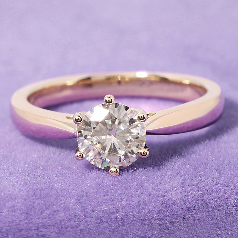 14k Yellow Gold Solitaire Moissanite Ring 1ct