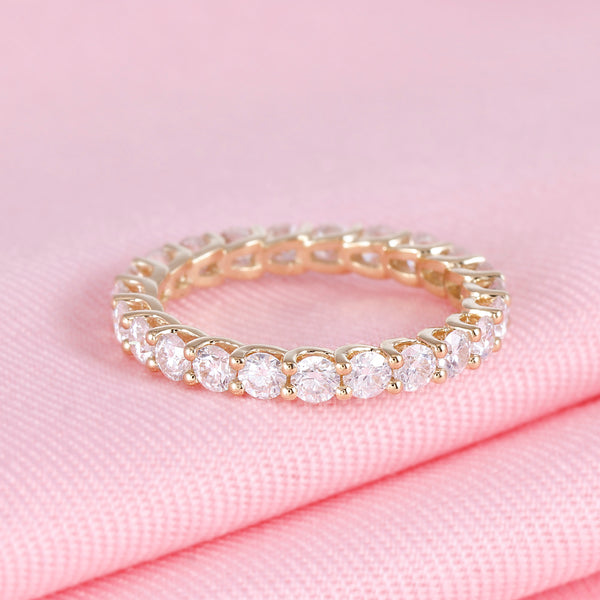 14k Yellow Gold Moissanite Eternity Ring 2ct Total