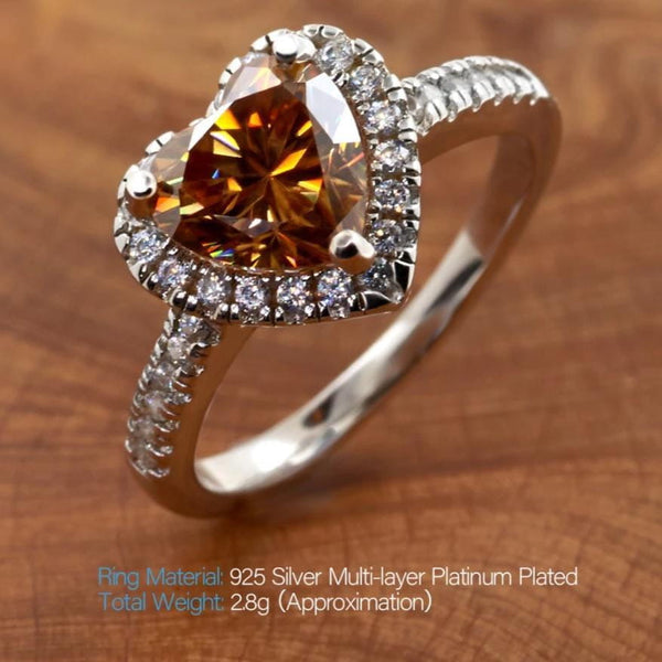 Halo / Heart Design Moissanite Ring, Golden Moissanite, 1.5 Carat Heart - Luxus Moissanite Engagement Rings
