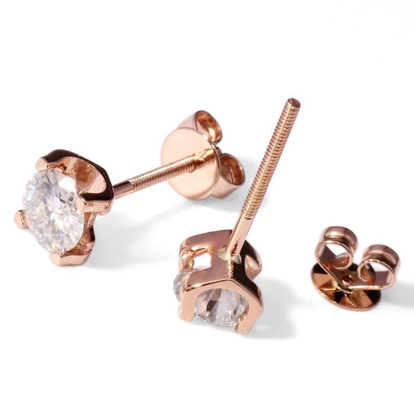 14k Rose Gold Stud Moissanite Earrings 2ct Total - Moissanite Engagement Rings & Jewelry | Luxus Moissanite