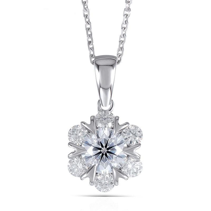 14k White Gold Moissanite Necklace / Pendant 1.6ct Total - Moissanite Engagement Rings & Jewelry | Luxus Moissanite