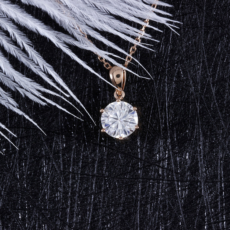 18k Rose Gold Flower Moissanite Necklace 1ct