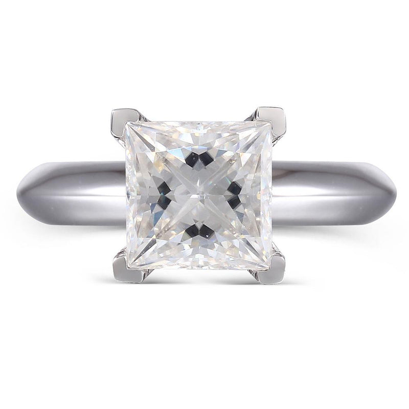 14k White Gold Solitaire Princess Cut Moissanite Ring 1.25ct