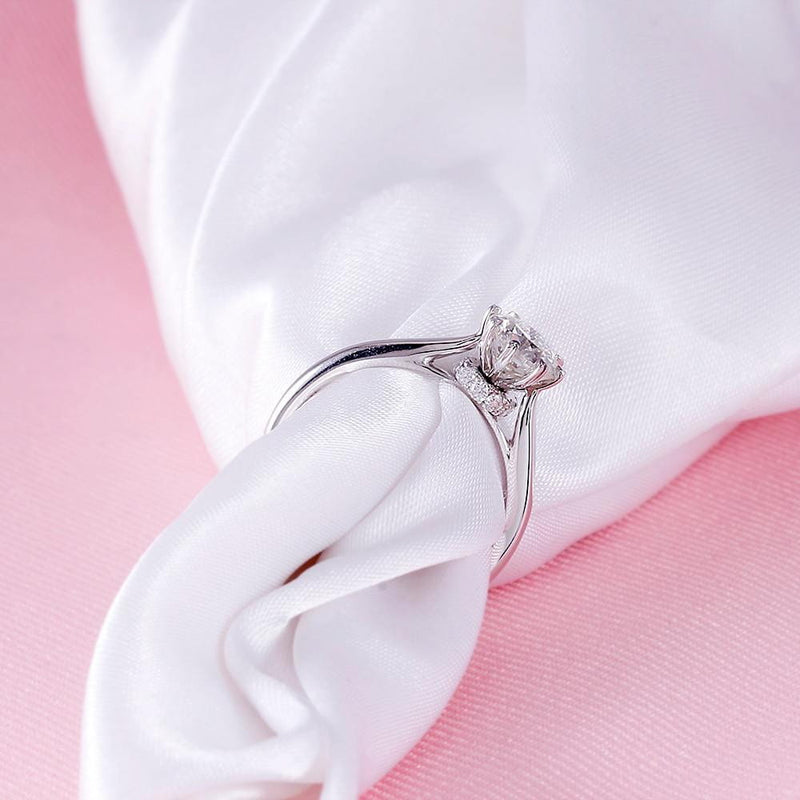 14k White Gold Octagon Cut Hidden Halo Moissanite Ring 1ct