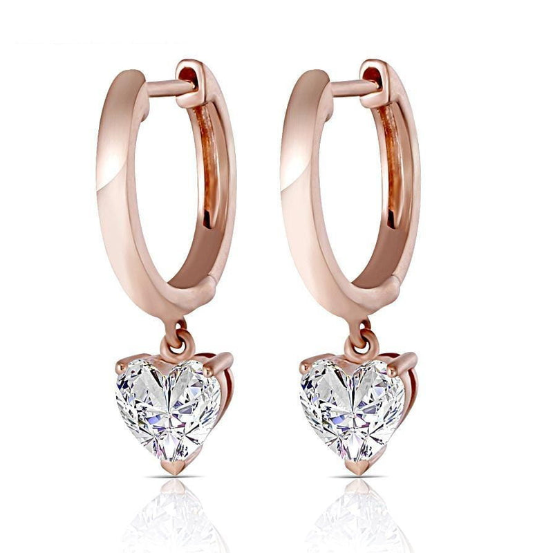 14k Rose Gold Heart Cut Hoop Moissanite Earrings 1ct Total - Moissanite Engagement Rings & Jewelry | Luxus Moissanite