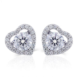 14k White Gold Heart / Halo Stud Moissanite Earrings 2ctw