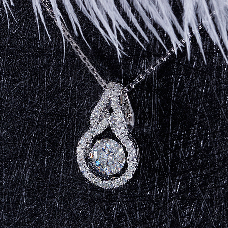 14k White Gold Moissanite Necklace / Pendant 1 Carat Center Stone