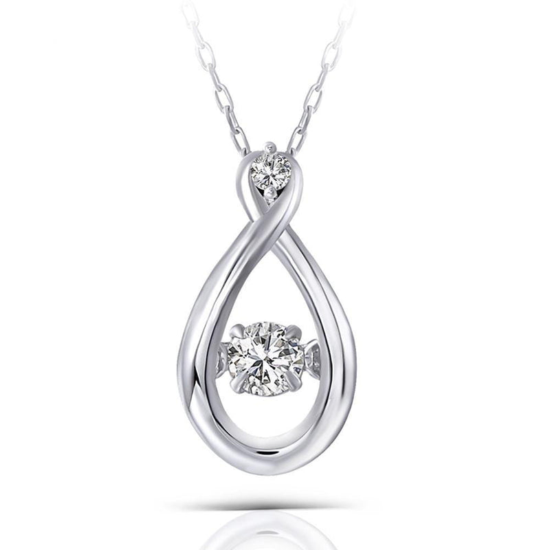 14k White Gold Dancing Moissanite Necklace 0.11ct Center Stone - Moissanite Engagement Rings & Jewelry | Luxus Moissanite