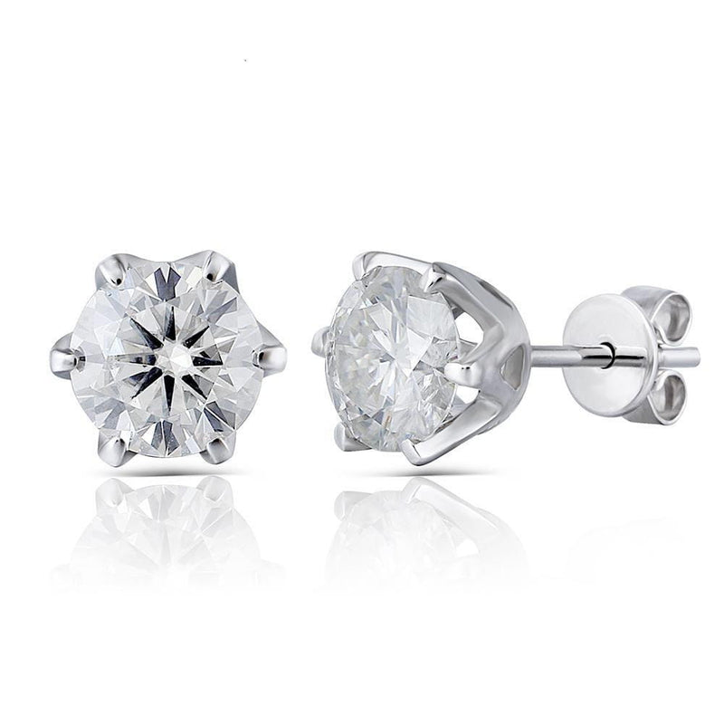 14k White Gold Moissanite Stud Earrings 2ct & 2.3ct Total Options - Moissanite Engagement Rings & Jewelry | Luxus Moissanite