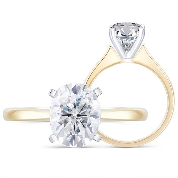 14k Yellow & White Gold Solitaire Oval Cut Moissanite Ring 2ct