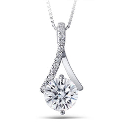 14k White Gold Moissanite Necklace / Pendant 1.6ct Center Stone