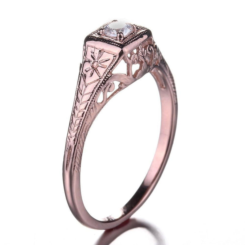 14k Rose Gold Vintage / Unique Moissanite Ring 0.1ct