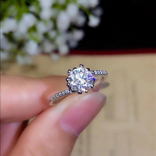 Moissanite Engagement Ring, Main Stone 1 Carat - Luxus Moissanite Rings & Jewelry