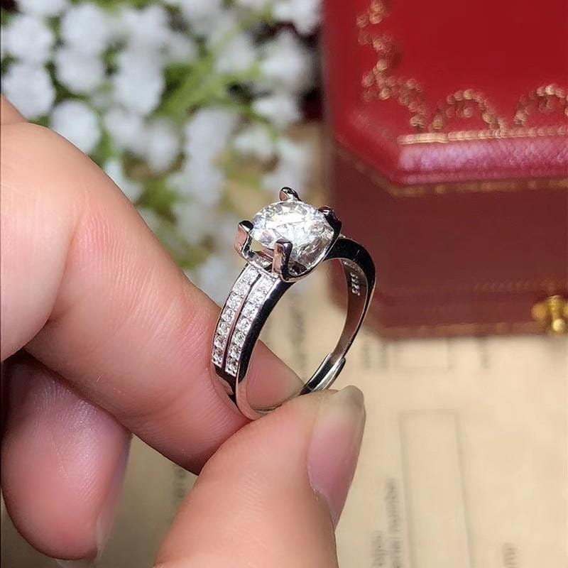 Moissanite Dual Band Engagement Ring 2 or 3 Carat Center Stone - Luxus Moissanite Rings & Jewelry