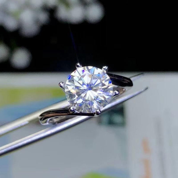 Moissanite Solitaire Engagement Ring 2 Carat - Luxus Moissanite Rings & Jewelry