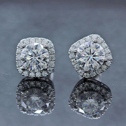 14k White Gold Halo Moissanite Stud Earrings 1.68ctw