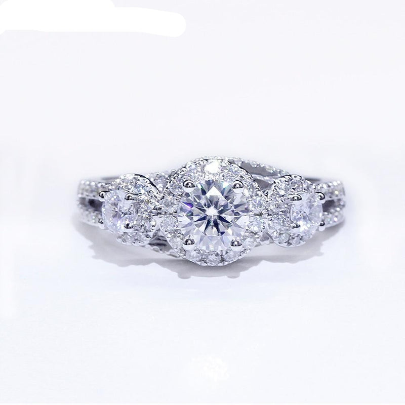 14k White Gold 3 Stone Moissanite Ring 0.72ct Total