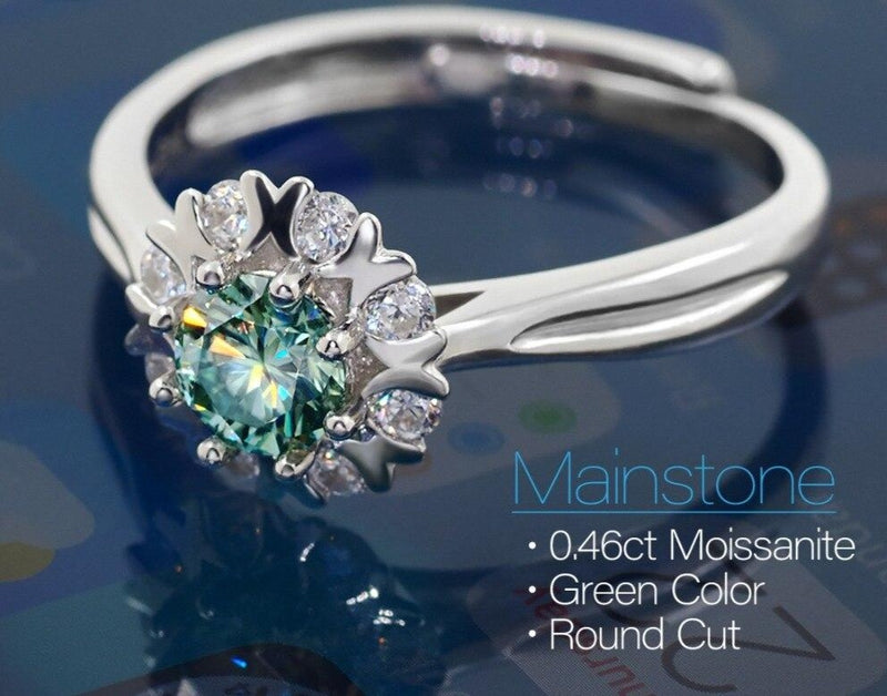 Platinum Plated Silver Halo Moissanite Ring Green 0.45ct Stone