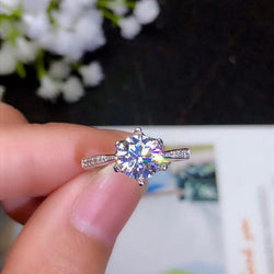 Platinum Plated Silver Moissanite Ring 1.2ct & 2ct Options - Moissanite Engagement Rings & Jewelry | Luxus Moissanite
